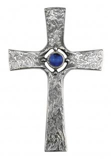 Wandkreuz Glasstein-blau Silberbronze 22 cm Kruzifix Kreuz