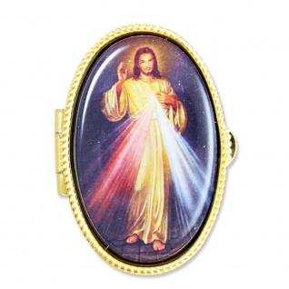 Rosenkranz Etui Barmherziger Jesus 5 cm oval Schmucketui Schmuckschatulle