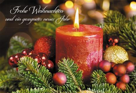 Glückwunschkarte Frohe Weihnachten (6 St) Rote brennende Kerze Grußkarte Kuvert
