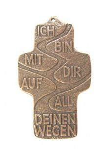 Wandkreuz Ich bin mit dir 10, 5cm Bronze Christoph Fischbach Handarbeit Expertise
