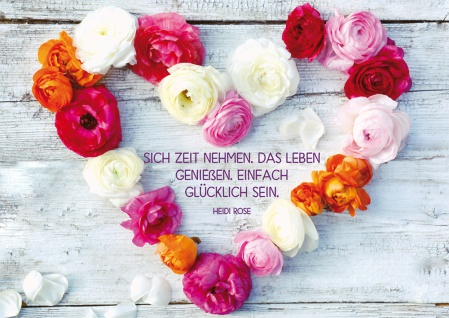 Postkarte Geburtstag Herz Blumen 10 St Adressfeld Rosen Genuss Glück Leben Glück