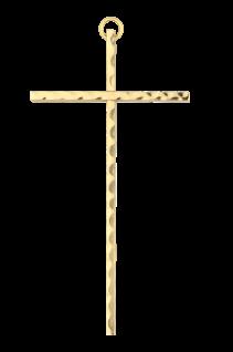 Wandkreuz Messing, gehämmert Kreuz 35 x16 cm Handarbeit Metall Kruzifix