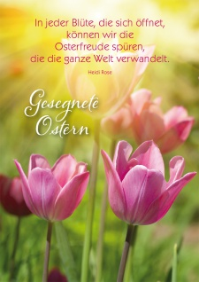 Postkarte Heidi Rose Gesegnete Ostern Tulpen mit Adressfeld 10 Stck