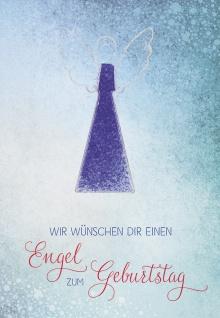 Klappkarte Wir wünschen dir einen Engel zum Geburtstag (5 St) mit Glasanhänger
