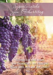 Postkarte Segenswünsche zum Geburtstag (10 St) Weinreben Psalm Lutherbibel