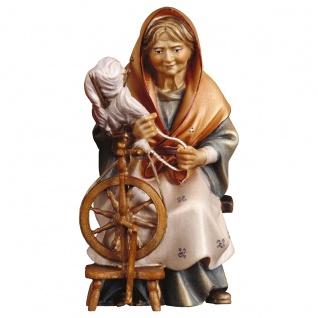 Alte Hirtin mit Spinnrad Holzfigur geschnitzt Südtirol Krippenfigur Ulrich Krippe