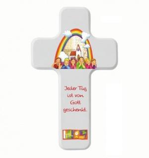 Kinderkreuz Holzkreuz weiß Jeder Tag ist von Gott 18 cm Wandkreuz Holz