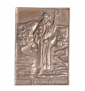 Namenstag Benedikt 8 x 6 cm Bronzeplakette Bronzerelief Wandbild Schutzpatron