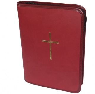 Gotteslobhülle Kreuz Kunstleder Dunkelrot Gesangbuch Einband Katholisch