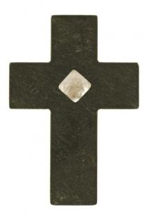 Wandkreuz Schiefer Bergkristall 9, 5 x 6 cm Handarbeit MODERN Schmuckkreuz UNIKAT