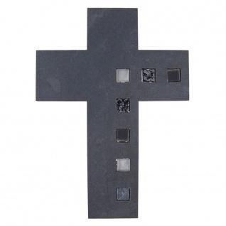 Wandkreuz Schiefer Glaseinlagen Kreuz 25 x 18 cm Kruzifix Christlich