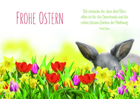 Osterkarte Frohe Ostern Hase Tulpen (6 St) Grusskarte Kuvert Glückwunschkarte