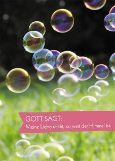 Postkarte Gott sagt: Meine Liebe (10 St) Seifenblasen Heidi Rose Grußkarte
