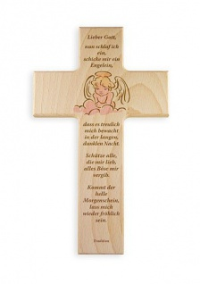 Kinderkreuz Schutzengel Buche 15 cm 20 cm Wandkreuz Holz Kreuz Gute-Nacht-Gebet