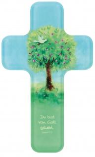 Kreuz für Kinder Lebensbaum 18 cm Acrylglas Kruzifix Geschenkbox