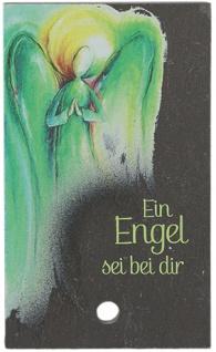 Engel Bild Ein Engel sei bei dir Schiefertafel 10 cm Holzstab zum Aufstellen