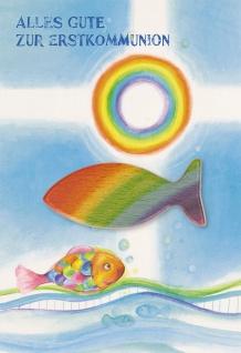 Glückwunschkarte Fisch-Holzhandschmeichler (3 St) Grußkarte Erstkommunion Kuvert
