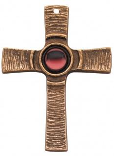 Wandkreuz mit rotem Stein 7, 5 cm Kommunion Bronze Kruzifix Kreuz