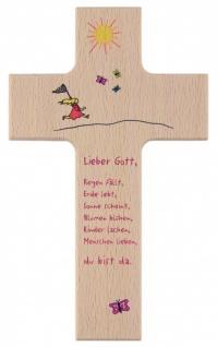Kinderkreuz Freude am Leben Buche 15 cm 20 cm Du bist da Wandkreuz Holz Taufe