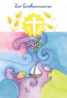 Kommunionkarte Zur Erstkommunion (6 Stck) Glückwunschkarte Kommunion Kuvert