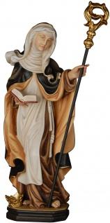 Heilige Wiltrud mit Stab und Krone Holzfigur geschnitzt Südtirol Äbtissin
