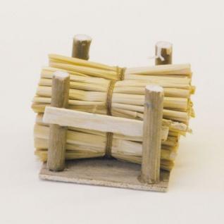 Stapel mit Strohgarben Holz handgefertigt 6 cm Zubehör für Weihnachtskrippe