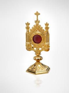 Reliquiar Dom vergoldet, Messing 30 cm, Kapsel Ø 7 cm Christliches Kultgefäß