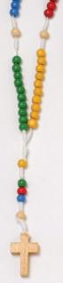 Taschenrosenkranz farbig geknüpft mit Holzkreuz 30 cm