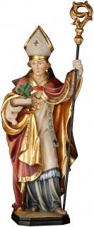 Heiliger Patrick mit Kleeblatt Holzfigur geschnitzt Südtirol Schutzpatron