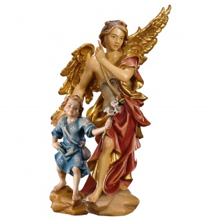 Schutzengel Gabriel mit Junge Holzfigur geschnitzt Engelfigur Südtirol