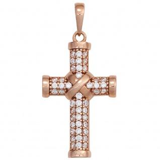 Schmuck Kreuz Anhänger 925 Silber rotvergoldet Zirkonia Schmuckkreuz