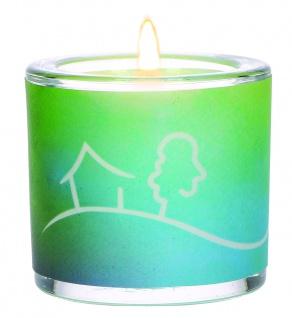 Glaswindlicht Haussegen 6, 5 cm inkl Teelicht Kerzenhalter Glas für Windlicht