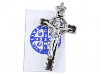 Benediktus-Kreuz Emaille Einlage braun Metall Korpus 8 cm Kruzifix