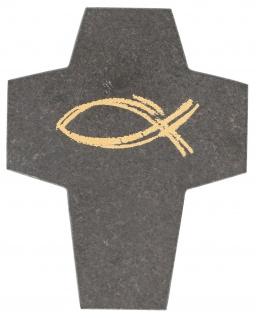 Wandkreuz Fisch Ichthys Symbolkreuz 10 cm Schiefer Golddruck Kruzifix Kreuz