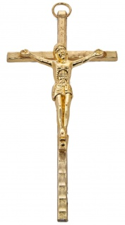 Kruzifix Corpus INRI Kreuz Metall 11 cm goldfarben Wandkreuz Christlich