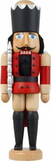 Nussknacker König Esche lasiert rot 29 cm Holz-Figur Handarbeit Erzgebirge