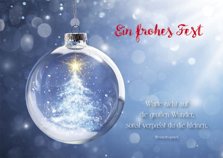 Weihnachtskarte Ein frohes Fest Weisheitsspruch (6 Stück) Grußkarte mit Kuvert