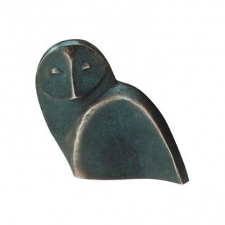 Bronzeskulptur Eule 11 cm grün patiniert Tier-Figur Bronze Schmelter Raimund