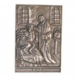 Namenstag Karl 8 x 6 cm Bronzeplakette Bronzerelief Wandbild Schutzpatron