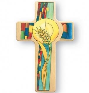 Kreuz für Kinder Weizenkorn Ähre 18 cm Holz Kreuz Wandkreuz Kommunion