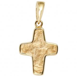 Kreuz Schmuck Gold 585 Gelbgold gehämmert Anhänger Christliches Schmuckkreuz