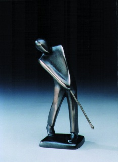 Bronzeskulptur Golfspieler chippend 19 cm Bronze Figur