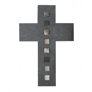 Wandkreuz Schiefer Kreuz Glas Bronze 26 cm Schmuckkreuz Kruzifix Christlich