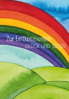 Geld-Geschenkkarte Zur Erstkommunion Glück und Segen farbiges Kuvert 6 Stk