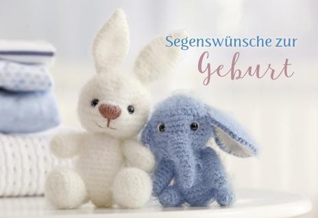 Glückwunschkarte Geburt Kuschel-Tiere 6 St Kuvert Bibelwort Segen Gabe Geschenk - Vorschau