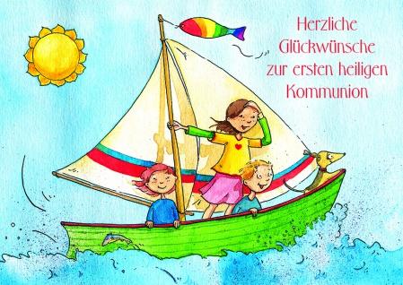 Kommunionkarte Herzliche Glückwünsche zur Kommunion (6 St) Grußkarte Kuvert