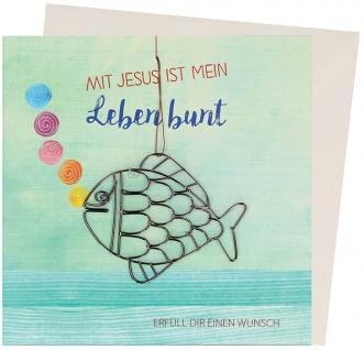 Geldgeschenk karte Mit Jesus ist mein Leben bunt Fisch Kuvert Fein-Draht