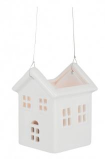 Porzellan-Figur Haus mit Teelicht, zum Aufhängen 7, 5 cm