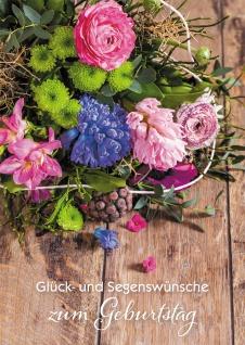 Glückwunschkarte Geburtstag Blumenstrauß 6 St Kuvert Gegenwart Segen Wünsche - Vorschau