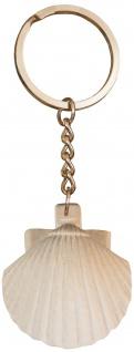 Schlüsselanhänger Jakobsweg Pilger Muschel Ahornholz hell 12, 5 cm